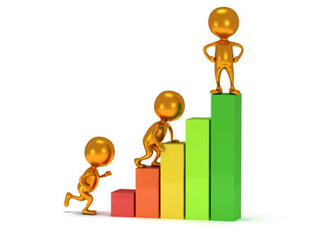 3D colored bar graph and climbing people who helps statistics grow up
