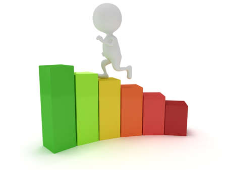 3D colored bar graph with running white businessman who helps statistics grow up