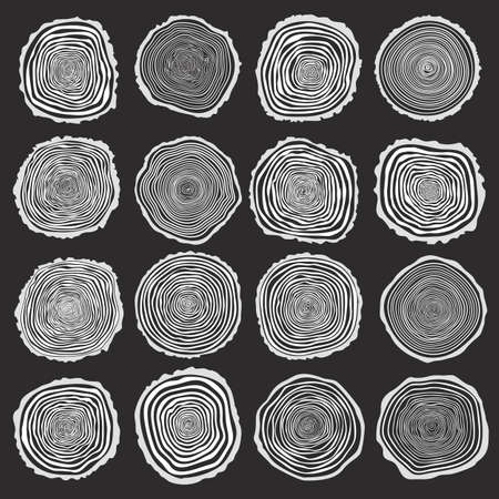 Illustration for Collection of vector tree rings background and saw cut tree trunk. Conceptual graphics. White on dark background - Royalty Free Image