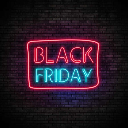 Photo pour Black Friday Neon Light on Brick Wall - image libre de droit