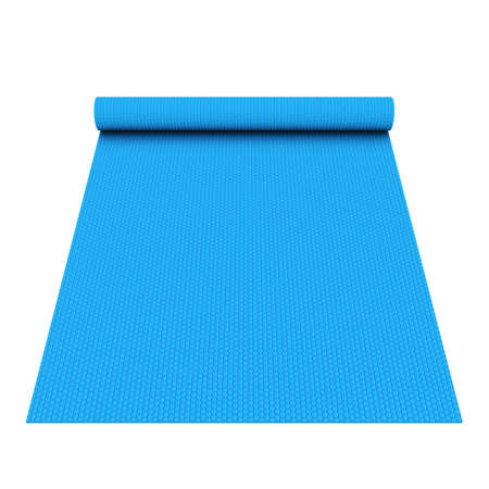Photo pour Blue half rolled yoga pilates mat. 3d render isolated on white background. Fitness and health. Exercise equipment. - image libre de droit