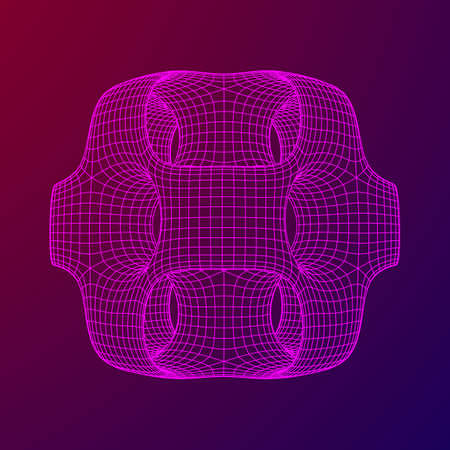 Illustration pour Wireframe Ported Cube. Cube of connected lines. Molecular lattice. The structural grid of polygons. Vector illustration sacred geometry - image libre de droit