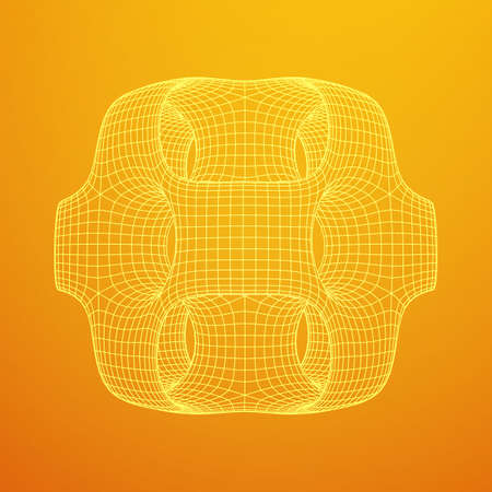 Illustration pour Wireframe Ported Cube - image libre de droit
