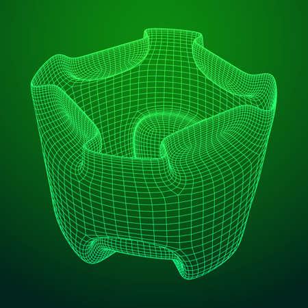 Illustration pour Wireframe futuristic case. Connected lines. Molecular lattice. The structural grid of polygons. Vector illustration. - image libre de droit