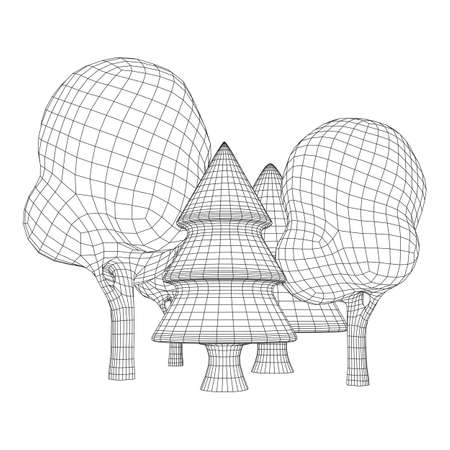 Illustration pour Mesh image of trees. Low poly background. Eco vector. Wireframe low poly mesh vector illustration - image libre de droit