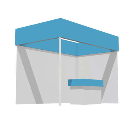 Photo for Trade Show Booth Blue and White. Indoor Exhibition with Work Paths. 3d render isolated on white background. High Resolution Ad Template for your Expo design. - Royalty Free Image