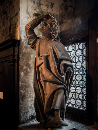 Photo pour Ancient sculpture of XIII-XV century in the museum of Cathedral of Strasbourg, France - image libre de droit