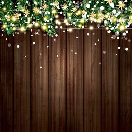 Ilustración de Fir Branch with Neon Lights and Snowflakes Wooden Background - Imagen libre de derechos