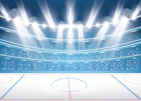 Illustration pour Ice hockey stadium with spotlights. Vector illustration. - image libre de droit