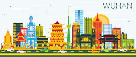 Illustration pour Wuhan China City Skyline with Color Buildings and Blue Sky. Vector Illustration. Business Travel and Tourism Concept with Modern Architecture. Wuhan Cityscape with Landmarks. - image libre de droit