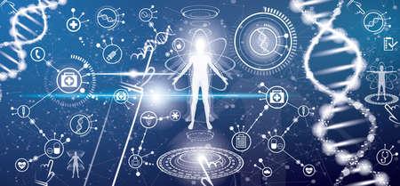 Ilustración de Futuristic Medical Health Concept with Human Body and DNA Molecule Structure. Vector Illustration. Medical Icons. Elements of HUD Interface. - Imagen libre de derechos