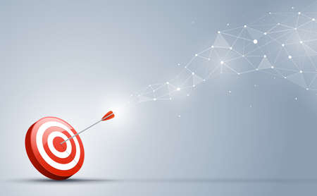Illustration for Target hitting in the center by the arrow. Goal direction and connection on the business concept. - Royalty Free Image