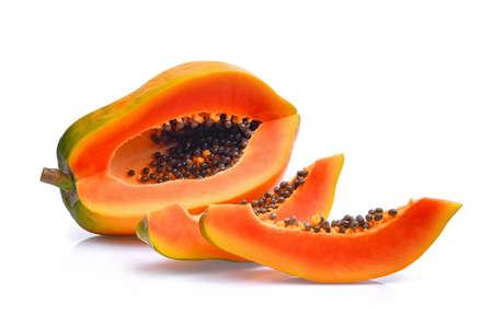 Photo for sliced of fresh papaya isolated on white background - Royalty Free Image