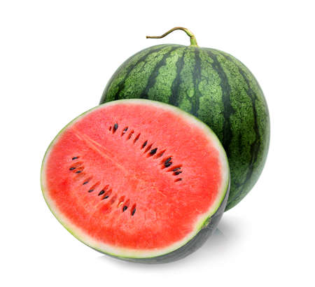 Photo for whole and half of watermelon isolated on white background - Royalty Free Image