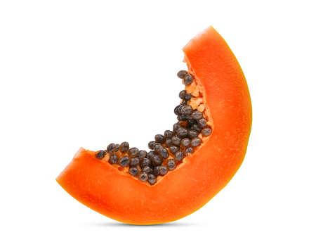 Photo for sliced ripe papaya with seeds isolated on white background - Royalty Free Image