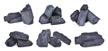Foto de set of natural wood charcoal,traditional charcoal or hard wood charcoal isolated on white - Imagen libre de derechos
