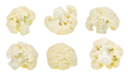 Photo pour set of cauliflower vegetable isolated on white background - image libre de droit