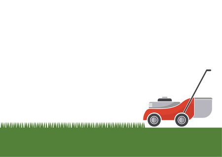 Illustration pour Lawn mower cutting grass with isolated background, illustration - image libre de droit