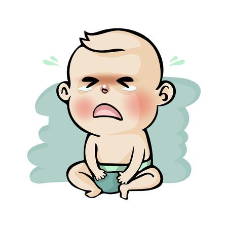 Illustration pour Crying baby boy cute cartoon, Vector illustration. - image libre de droit