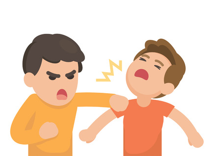 Illustrazione per Two young men fighting angry and shouting at each other, Vector cartoon illustration. - Immagini Royalty Free