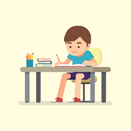 Illustrazione per Happy cute school boy writing for homework, Study concept, Vector illustration. - Immagini Royalty Free