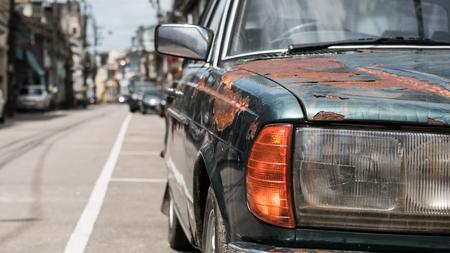 Foto de Close -up Car headlights of old car with Rust on the car - Imagen libre de derechos
