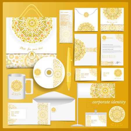 Foto de White corporate identity template with yellow mosaic elements.Vector company style for brandbook and guideline. - Imagen libre de derechos