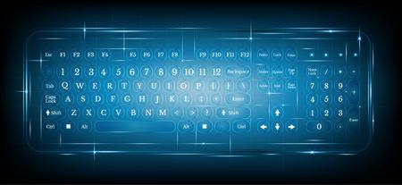 Illustration pour virtual shiny computer pc keyboard or keypad on blue background.dialing - image libre de droit