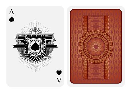 Ilustración de Ace of spades in line style shield face and back with pink gold texture suit. Vector card template - Imagen libre de derechos