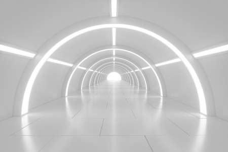 Photo pour Abstract empty shining tunnel with light in the end. Wide tunnel with light at the end. Shiny glossy surface. Abstract background. Landscape aspect ratio. 3D illustration. - image libre de droit