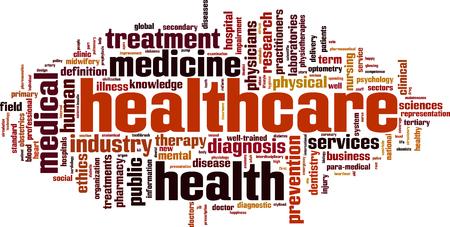 Illustration pour Healthcare word cloud concept. Vector illustration - image libre de droit