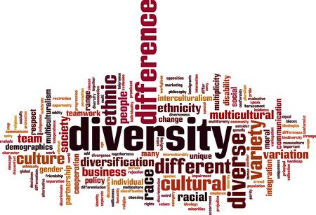 Illustration pour Diversity word cloud concept. Vector illustration - image libre de droit