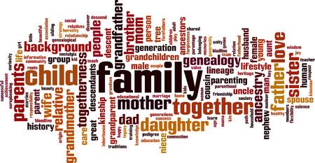 Illustration pour Family word cloud concept. Vector illustration - image libre de droit