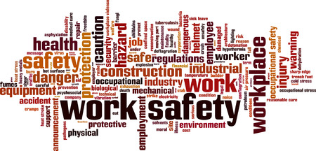 Foto per Work safety word cloud concept. Vector illustration - Immagine Royalty Free