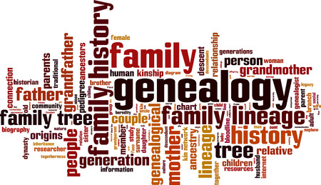 Illustration for Genealogy word cloud concept. Vector illustration - Royalty Free Image