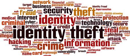 Ilustración de Identity theft word cloud concept. Vector illustration - Imagen libre de derechos