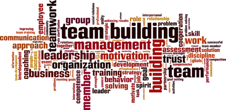 Ilustración de Team building power word cloud concept. Vector illustration - Imagen libre de derechos