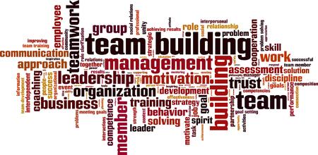 Illustration pour Team building power word cloud concept. Vector illustration - image libre de droit