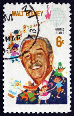 Foto de USA - CIRCA 1968: a stamp printed in the USA shows Walt Disney, Cartoonist, Film Producer, Creator of Mickey Mouse, circa 1968 - Imagen libre de derechos
