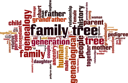 Illustration for Family tree word cloud concept. Vector illustration - Royalty Free Image
