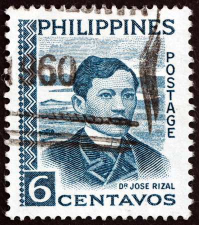 Foto de PHILIPPINES - CIRCA 1959: a stamp printed in Philippines shows Jose Rizal, Portrait, National Hero, Nationalist and Reformist, circa 1959 - Imagen libre de derechos