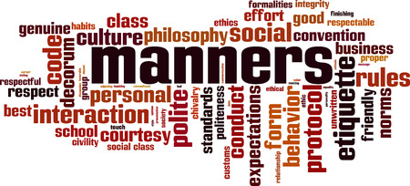 Illustrazione per Manners word cloud concept. Vector illustration - Immagini Royalty Free
