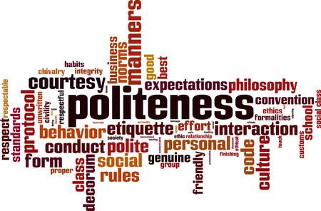 Photo pour Politeness word cloud concept. Vector illustration - image libre de droit
