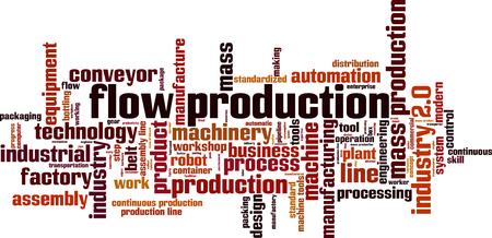 Illustration pour Flow production word cloud concept. Vector illustration - image libre de droit