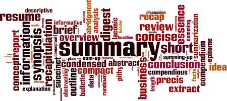 Ilustración de Summary word cloud concept. Collage made of words about summary. Vector illustration - Imagen libre de derechos