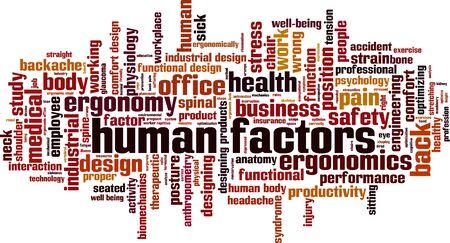 Illustration pour Human factors word cloud concept. Collage made of words about human factors. Vector illustration - image libre de droit