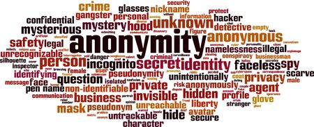 Illustrazione per Anonymity word cloud concept. Collage made of words about anonymity. Vector illustration  - Immagini Royalty Free