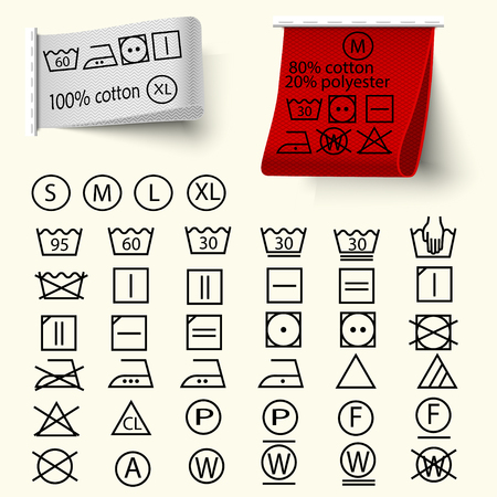 Ilustración de Set of textile care sign, laundry care icons, thin line design, textile labels with tissue structure red and white, vector - Imagen libre de derechos