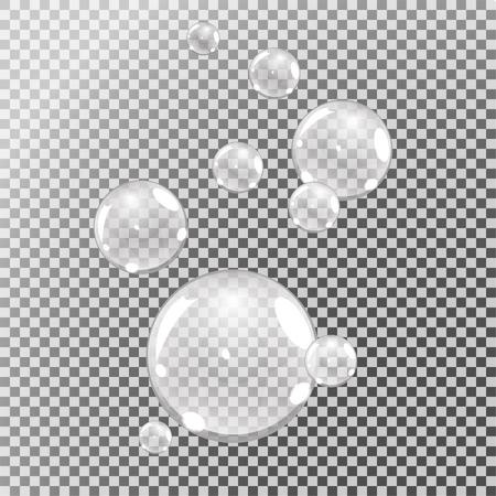 Ilustración de underwater bubbles, water bubbles on transparent background, vector - Imagen libre de derechos