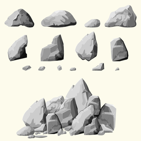 Illustration pour Set of stones, rock elements different shapes and shades of gray, cartoon style boulders set, flat design, isometric stones on white background, you can simply regroup rocks, vector - image libre de droit
